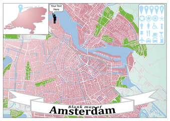 Blank map of Amsterdam