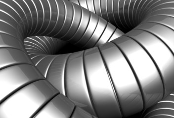 Silver metal tube abstract background 3d illustration