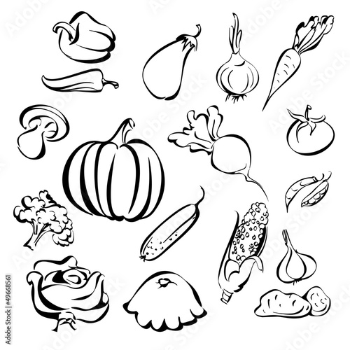 vegetables icon set sketch