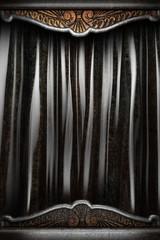 Metal on black curtain