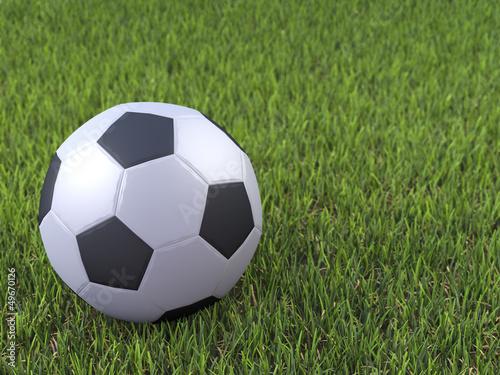 3d Football on grass