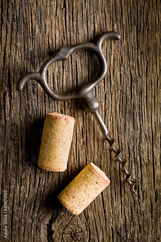 wine cork and corkscrew