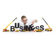 Business start up: Businessman building business-word.