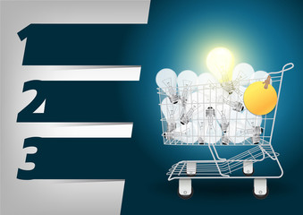 Creative Template light bulb in the shopping cart
