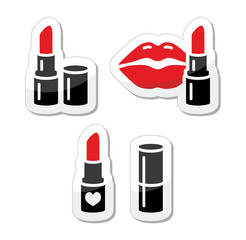 Lips and red lipstick vector icon set