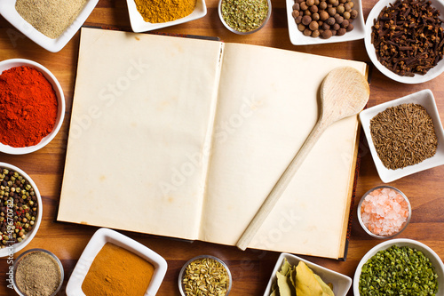 Cookbook and various spices and herbs.