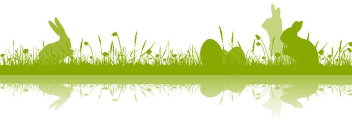 Silhouette grün Osternwiese