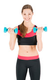 Beautiful young woman working out with dumbbells