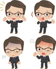 様々な表情の中年ビジネスマン