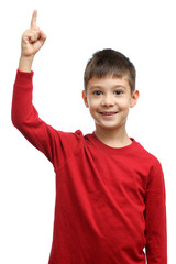 Happy child with good idea holds finger up