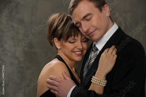 Young  man and woman with closed eyes