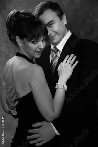 Monochrome picture of young man and woman