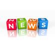 3D Illustration: News Wort aus Würfel mit der Schrift