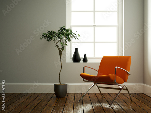 canvas print picture moderner Stuhl orange
