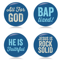 Vintage Christian buttons, blue