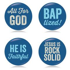 Vintage Christian buttons, blue