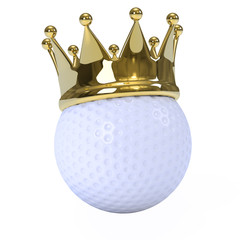 Golf ball with gold crown