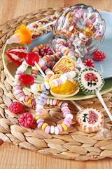 nostalgische süßigkeiten, bonbons, lollies, zuckerketten