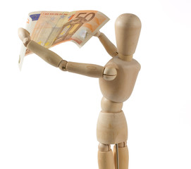 Closeup of Wooden Mannequin Inspecting a Banknote