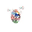 Colorful Easter eggs design with butterflies background