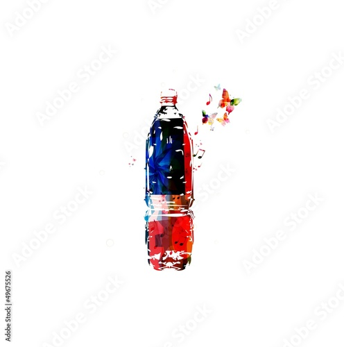 Colorful bottle design with butterflies background