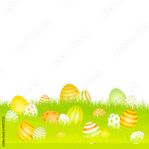 Easter Card Meadow Eggs