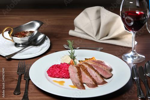 Entenbrust , Kürbis mit  Risotto und Honig-Ingwer-Sauce