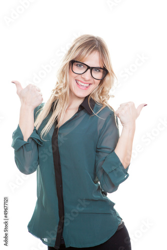 business woman thumbs up
