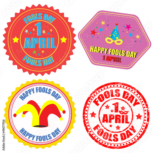 Fool's Day labels and stamp