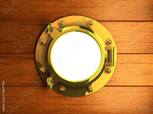 3d Brass porthole in wooden hull