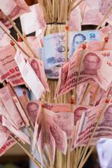 Thai banknote in make merit