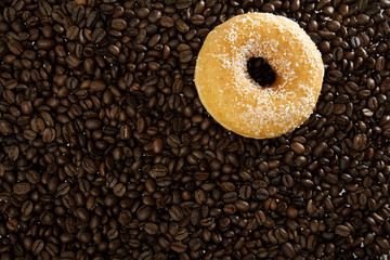 Coffee beans and donuts
