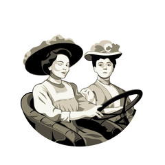 Vintage driving women in open car isolated
