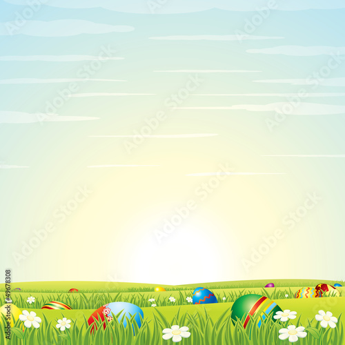 Easter Background. Eggs in Green Grass.