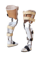 Two view of the prosthetic leg isolated on a white background