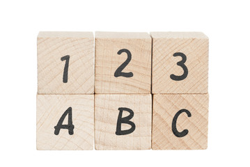 ABC 123 Arranged Using Wooden Blocks.