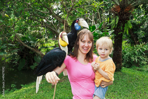 family with hornbills in nature