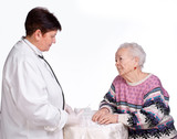 Doctor preparing injection for old woman