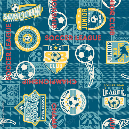 Soccer badges with tartan background seamless pattern