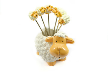 Resin Sheep as Fruit toothpick on a white background