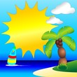 Palm Tree on Tropical Beach Clip Art-Spiaggia Tropicale e Palma