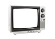 Dirty Portable Television Isolated with Cut Out Screen
