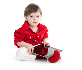 Toddler Baby using with tablet