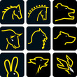 animal head icon set