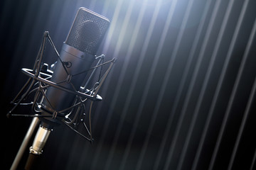 Röhren Mikrofon im Tonstudio Gesangskabiene
