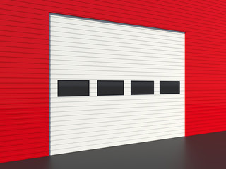 Industrial door or garage door with four windows
