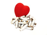 Heart and stubs  Harm of smoking poster