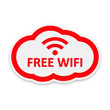 Free Wifi Cloud on white background. Vector Illustration