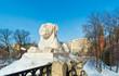Lion in Alexander Garden near Moscow Kremlin. Russia