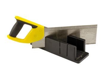 plastic saw angle cut miter box tool on white